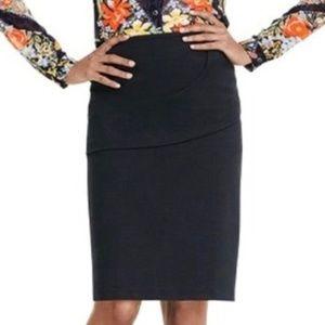 Cabi #3099 Overlay Pencil Skirt Black size 8